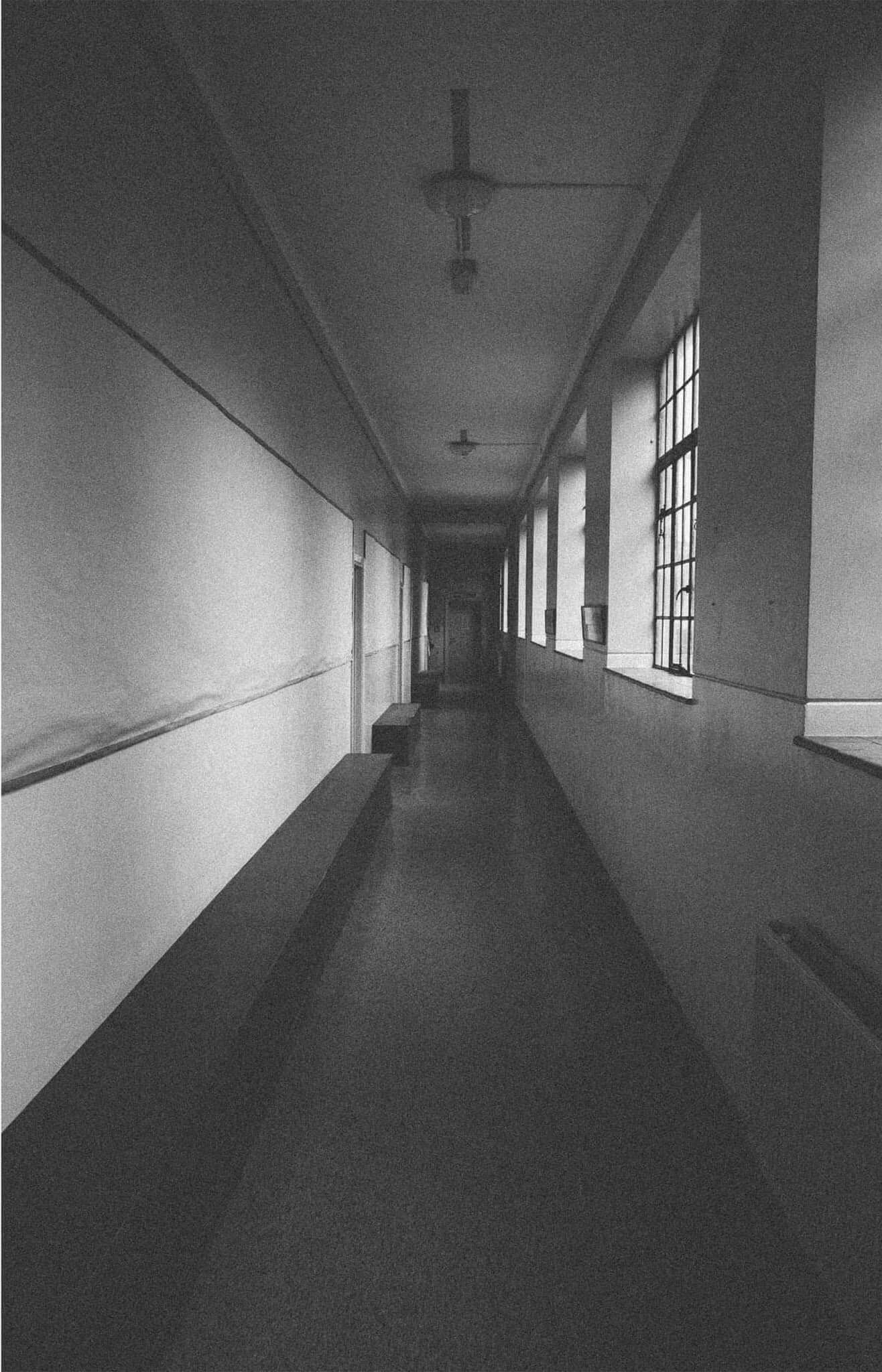 Black and white corridor
