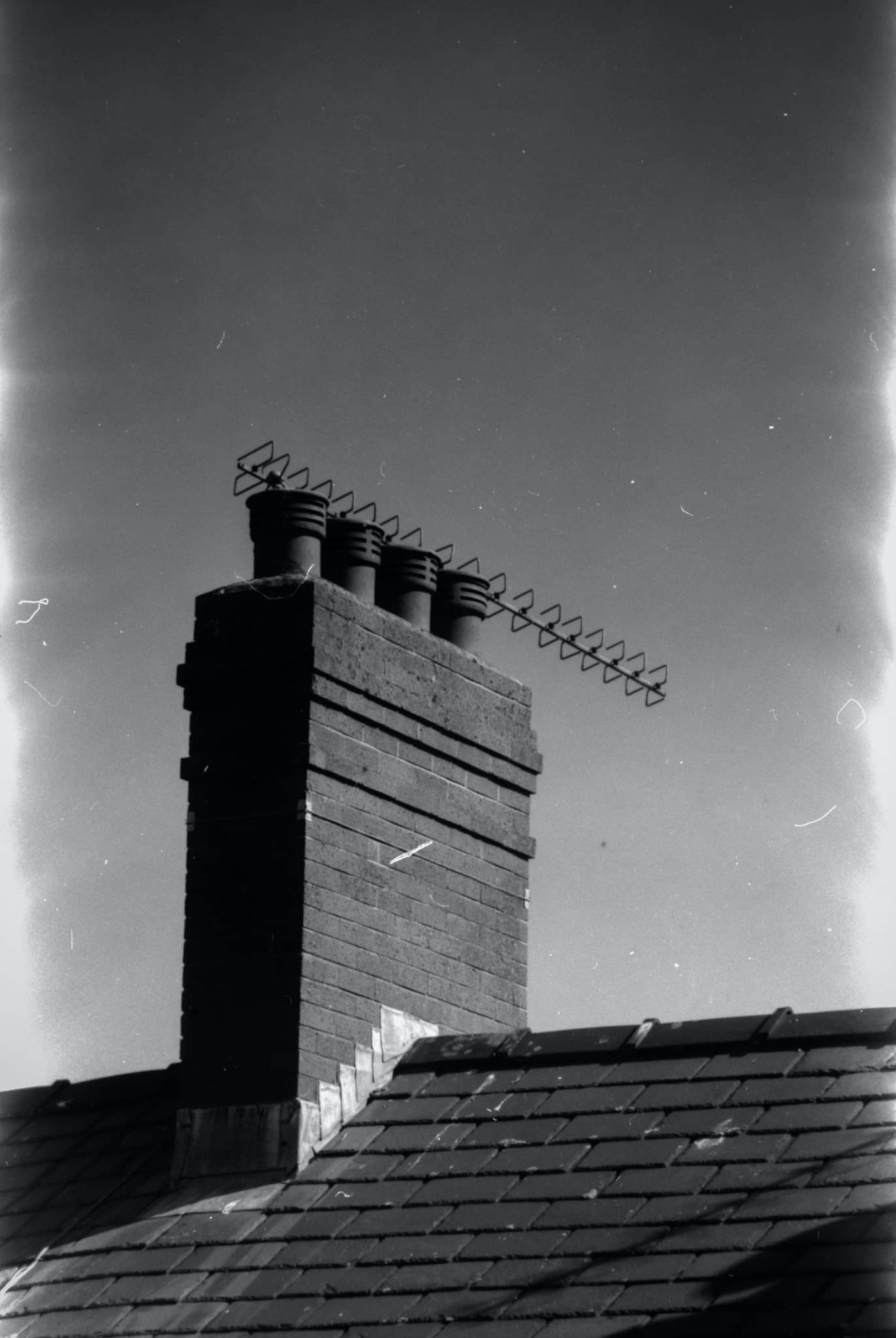 black and white chimney
