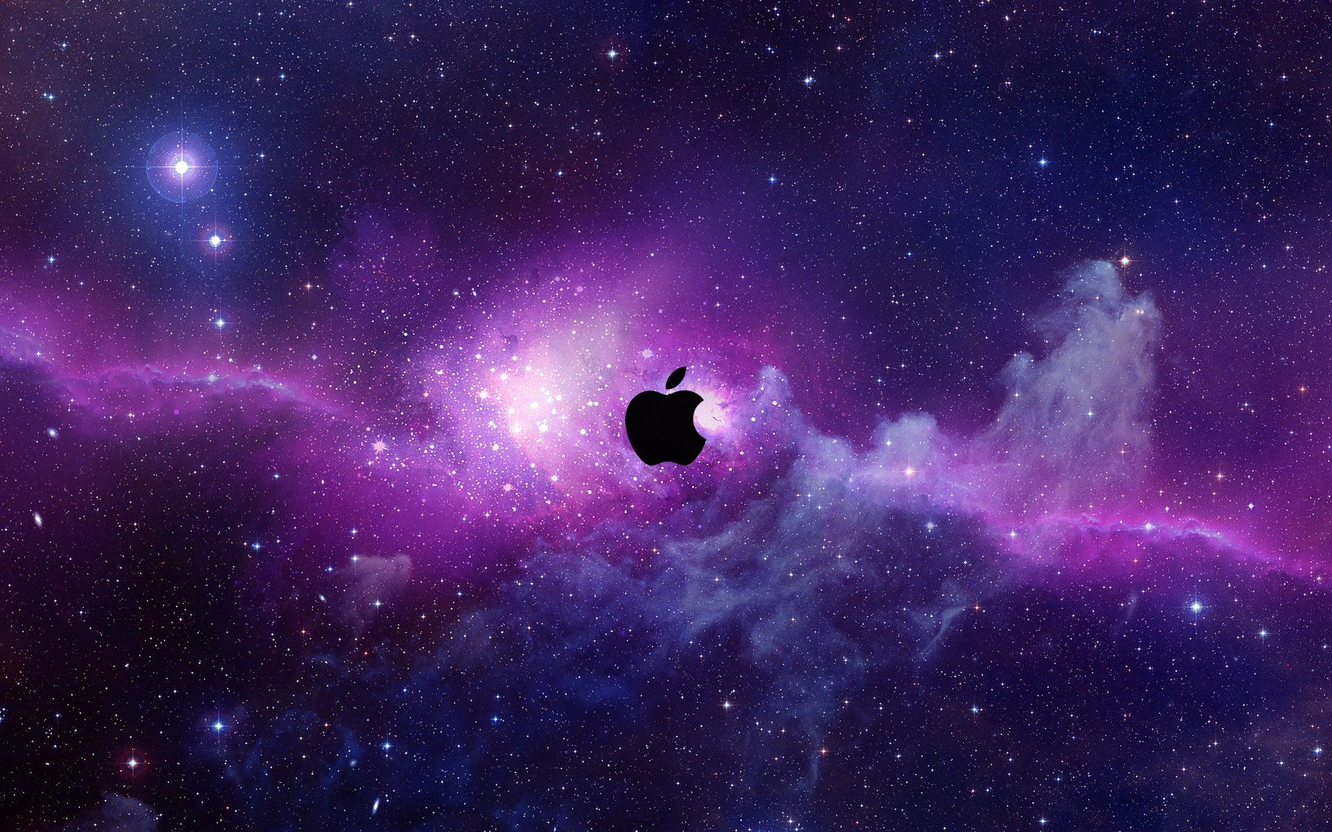A purple hued space scene with the Apple logo