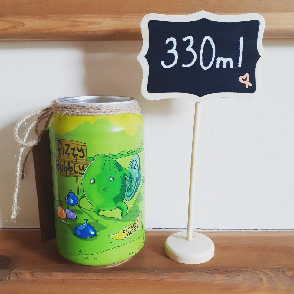 a 330ml beer can with independent artwork
